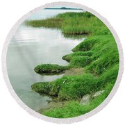 Grass And Water Round Beach Towel