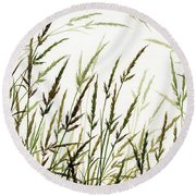 Round Beach Towel featuring the painting Grass Design by James Williamson