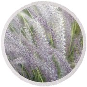 Round Beach Towel featuring the photograph Grass Is More - Nature In Purple And Green by Ben and Raisa Gertsberg