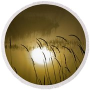 Grass Silhouettes Round Beach Towel