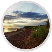 Round Beach Towel featuring the photograph Grass Sways On Prince Edward Island Bluffs by Chris Bordeleau