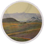 Grasslands Badlands Panel 2 Round Beach Towel