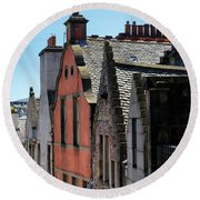 Round Beach Towel featuring the photograph Grassmarket In Edinburgh, Scotland by Jeremy Lavender Photography