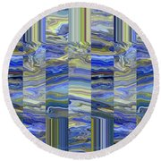 Grate Art - Blues And Greens Round Beach Towel by Brooks Garten Hauschild