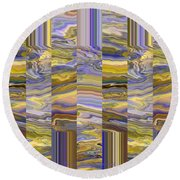 Grate Art - Purples And Yellows Round Beach Towel