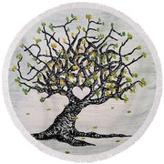 Round Beach Towel featuring the drawing Grateful Love Tree by Aaron Bombalicki