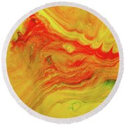 Gratitude - Red And Yellow Colorful Abstract Art Painting Round Beach Towel