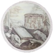 Grave Among Ruins Round Beach Towel