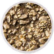 Gravel Stones On A Wall Round Beach Towel by John Williams