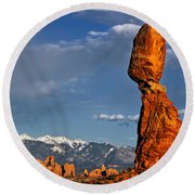 Gravity Defying Balanced Rock, Arches National Park, Utah Round Beach Towel by Sam Antonio Photography