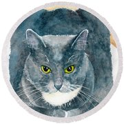 Gray And White Cat With Green Eyes Round Beach Towel