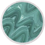 Gray Blue Waves Organic Abstract For Interior Decor X Round Beach Towel