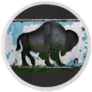 Gray Buffalo Round Beach Towel by Larry Campbell