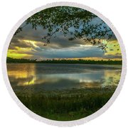 Gray Cloud Sunset Round Beach Towel by Tom Claud