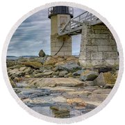 Round Beach Towel featuring the photograph Gray Day At Marshall Point by Rick Berk