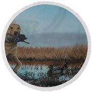 Gray Day Mallards Round Beach Towel