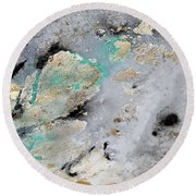 Gray, Gold, Black And Teal Round Beach Towel