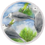 Gray Jays Trio Round Beach Towel