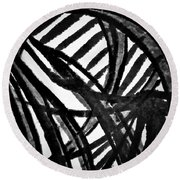 Round Beach Towel featuring the painting Gray Lines by Joan Reese