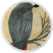 Gray Parrot Round Beach Towel