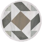 Gray Quilt Round Beach Towel by Debbie DeWitt