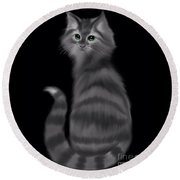 Round Beach Towel featuring the painting Gray Striped Cat by Nick Gustafson