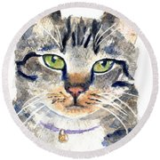 Gray Tabby Cat Watercolor Round Beach Towel