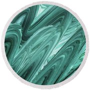 Gray Teal Waves Organic Abstract For Interior Decor Xi Round Beach Towel