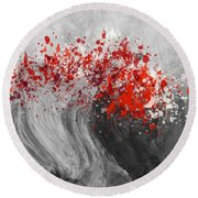 Gray Wave Turning Red Round Beach Towel