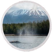 Gray Whale, Mount Edgecumbe Sitka Alaska Round Beach Towel