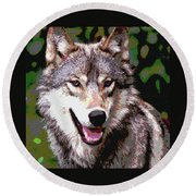 Round Beach Towel featuring the mixed media Gray Wolf by Charles Shoup
