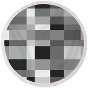 Round Beach Towel featuring the digital art Grayscale Check by Bruce Stanfield