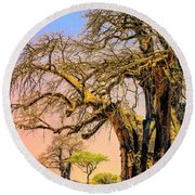 Grazing The Savanna Round Beach Towel
