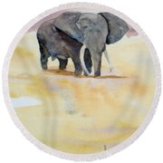 Round Beach Towel featuring the painting Great African Elephant  by Vicki  Housel
