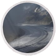 Great Aletsch Glacier In The Clouds. Canton Of Valais, Switzerland. Round Beach Towel