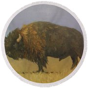 Great American Bison Round Beach Towel