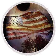 Great American Eclipse American Flag T Shirt Art Round Beach Towel