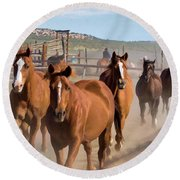 Great American Horse Drive - Coming Into The Corrals Round Beach Towel