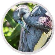 Great Blue Heron 0342 Round Beach Towel