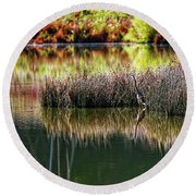 Round Beach Towel featuring the photograph Great Blue Heron 2 by Paul Mashburn