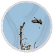 Great Blue Heron 2017-3 Round Beach Towel by Thomas Young