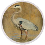 Great Blue Heron Art Round Beach Towel