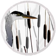 Great Blue Heron - Light Background Round Beach Towel