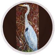 Great Blue Heron Round Beach Towel by Marilyn  McNish