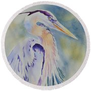 Great Blue Heron Round Beach Towel by Mary Haley-Rocks