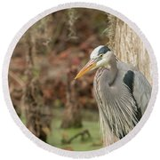 Great Blue Heron On Guard Round Beach Towel