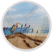 Great Blue Heron - Outer Banks Round Beach Towel