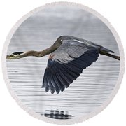Great Blue Heron Over Still Waters Round Beach Towel