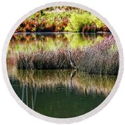 Round Beach Towel featuring the photograph Great Blue Heron by Paul Mashburn