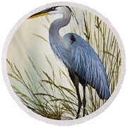 Great Blue Heron Shore Round Beach Towel